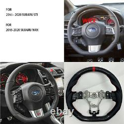 REVESOL Real Carbon Fiber Black Steering Wheel for 2015-2020 SUBARU STI WRX S209
