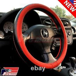 Red Premium 3D Carbon Fiber Leather Steering Wheel Cover Protector Slip-On JDM X