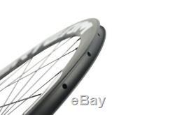 SUPERTEAM 700C Carbon Wheelset 50mm Depth Front/Rear Bicycle 3k Weave Wheels