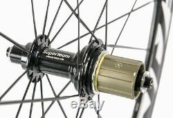 Superteam 700C Carbon Wheels 50mm Carbon Bike Clincher Wheels Bicycle Wheelset