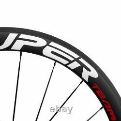 Superteam Carbon Fiber Road Bike WHeels 700C Clincher Wheelset 50mm Matte 23mm